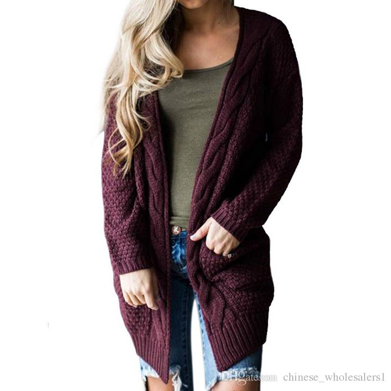 2019 One Piece Wholesale Autumn Winter Knitted Crochet Sweater Warm