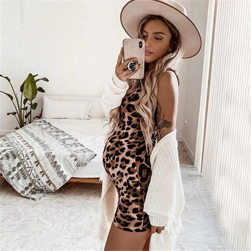 Leopard-Kleid-Sommer-Sleeveless Schwangere Frauen Mutterschaft Ärmel Kleider Beiläufiges Silm Bleistift, figurbetontes Kleid Frauen Kleider
