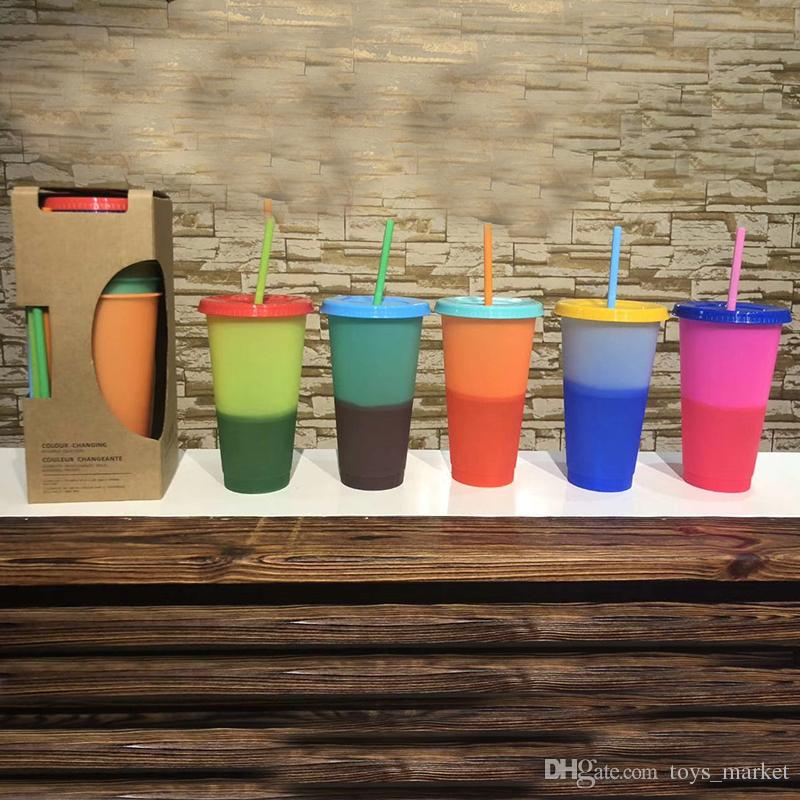 710ml Color Changing Cups Magic Plastic Drinking Tumblers Cup with lid straw Candy colors Reusable cold drinks water bottle Coffee mug