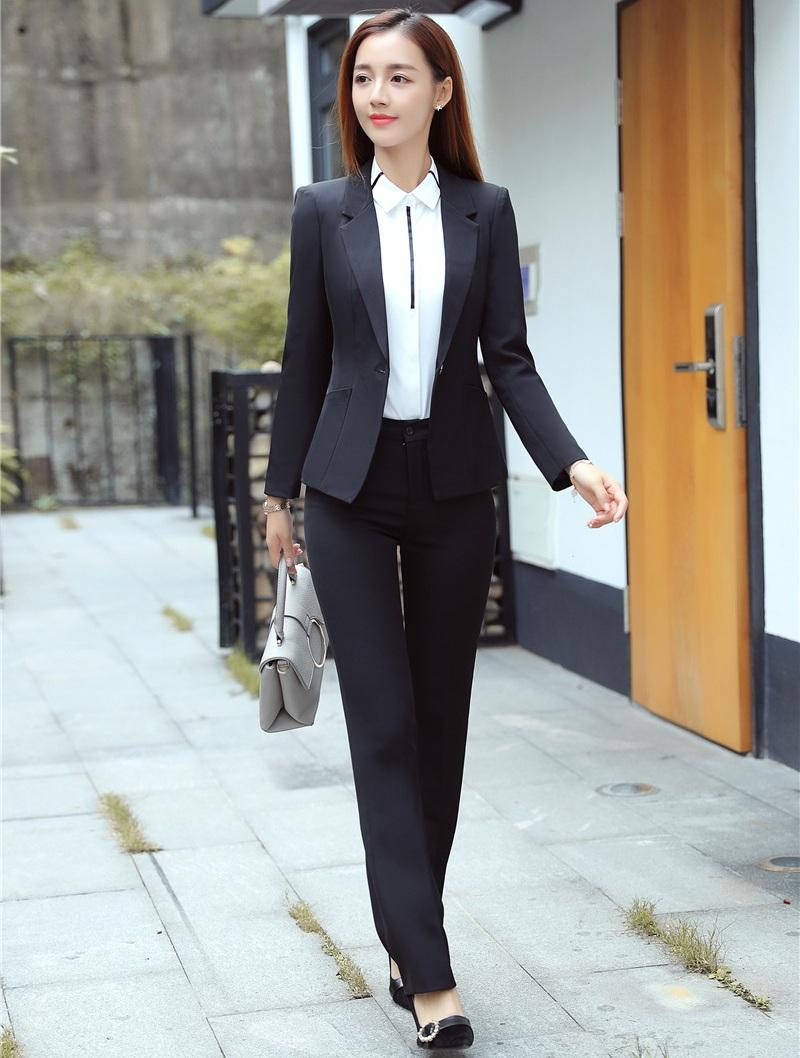 e0ec717617 2019 Ladies Black Blazer Women Business Suits Formal Office Suits Work Wear  Uniform Style Pant And Jacket Set From Maoku, $77.09 | DHgate.Com