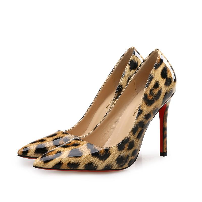 Sexy leopard pointed toe high heels red bottom patent leather brand banquets pumps stiletto heel 6cm 8cm 10cm large size