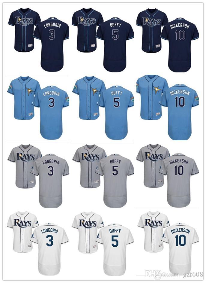 808f9762244 custom Men s women youth Tampa Bay Rays Jersey  3 Evan Longoria 10 Corey  Dickerson 5 Matt Duffy Home Blue Grey Baseball Jerseys