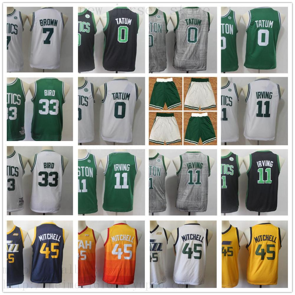 wholesale dealer bdfd4 c0364 Kids Youth Men Boston 11 Kyrie Green Irving Basketball Jersey White Black  Green Jayson 0 Tatum Utah Donovan 45 Mitchell Children Boys Jersey