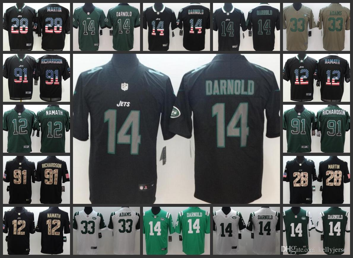 cheap for discount ac013 bec67 New York Men Jets Jersey #12 Joe Namath 14 Sam Darnold 33 Jamal Adams 91  Sheldon Richardson Limited Women Youth Football Jerseys