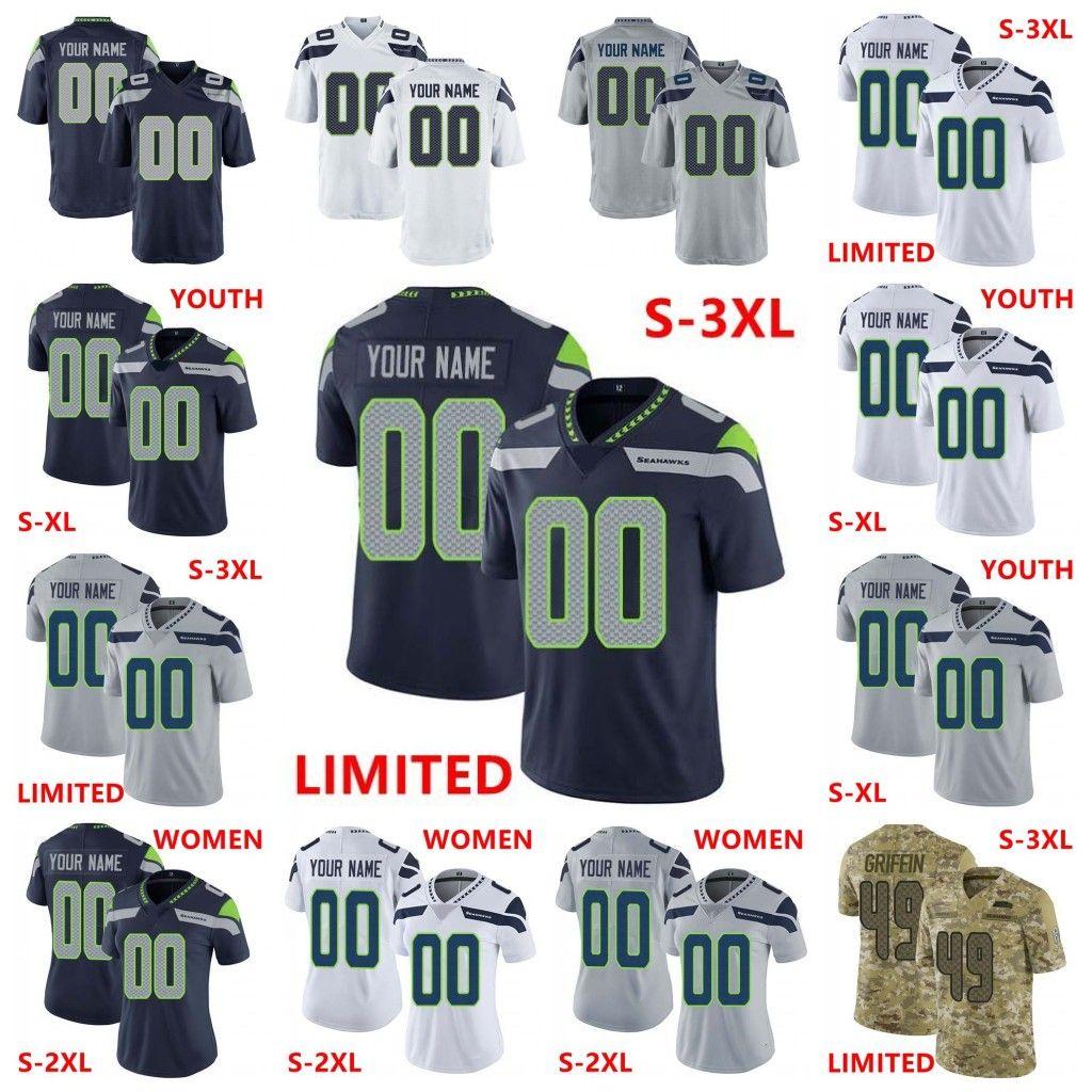 newest b56ce 3c525 Custom Men Women Youth Seahawks 3 Russell Wilson 12 12th Fan 12s 54 Bobby  Wagner 49 Shaquem Griffin 16 Tyler Lockett 25 Sherman Chancellor
