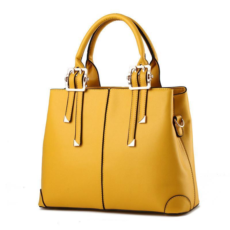 e1fc2e328 Compre MONNET CAUTHY Nuevos Bolsos Para Mujer Elegante Moda Clásica Damas  Occidente Estilo Bolsos Color Sólido Amarillo Rosa Verde Rojo Totes  Y1892608 A ...