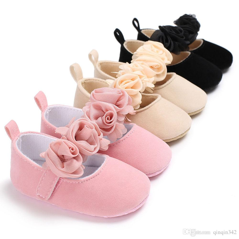 3de63c8652 Lovely Floral Baby Newborn Toddler Girl Crib Shoes Pram Soft Sole Prewalker  Anti-slip Baby Shoes 0-18M