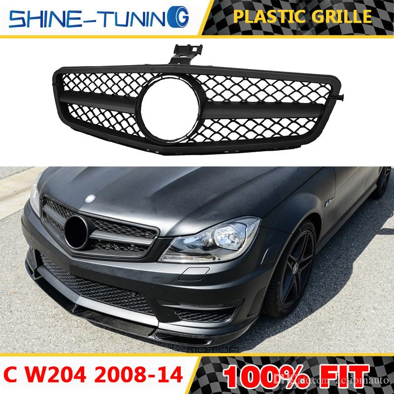 Front Grill Suitable for C Class W204 C63 AMG Matte black c200 c180 c300  c230 c280 c350 c63 style With emblem