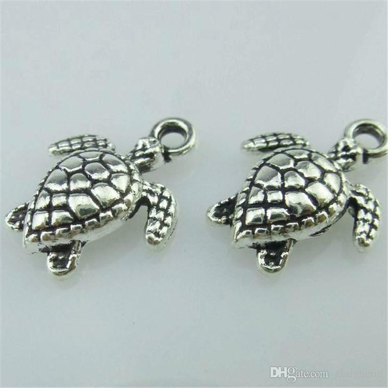 14655 40PCS Alloy Antique Silver Vintage Animal Ocean Sea Turtle Pendant Charm Jewelry Fashion Jewelry Accessory DIY Part