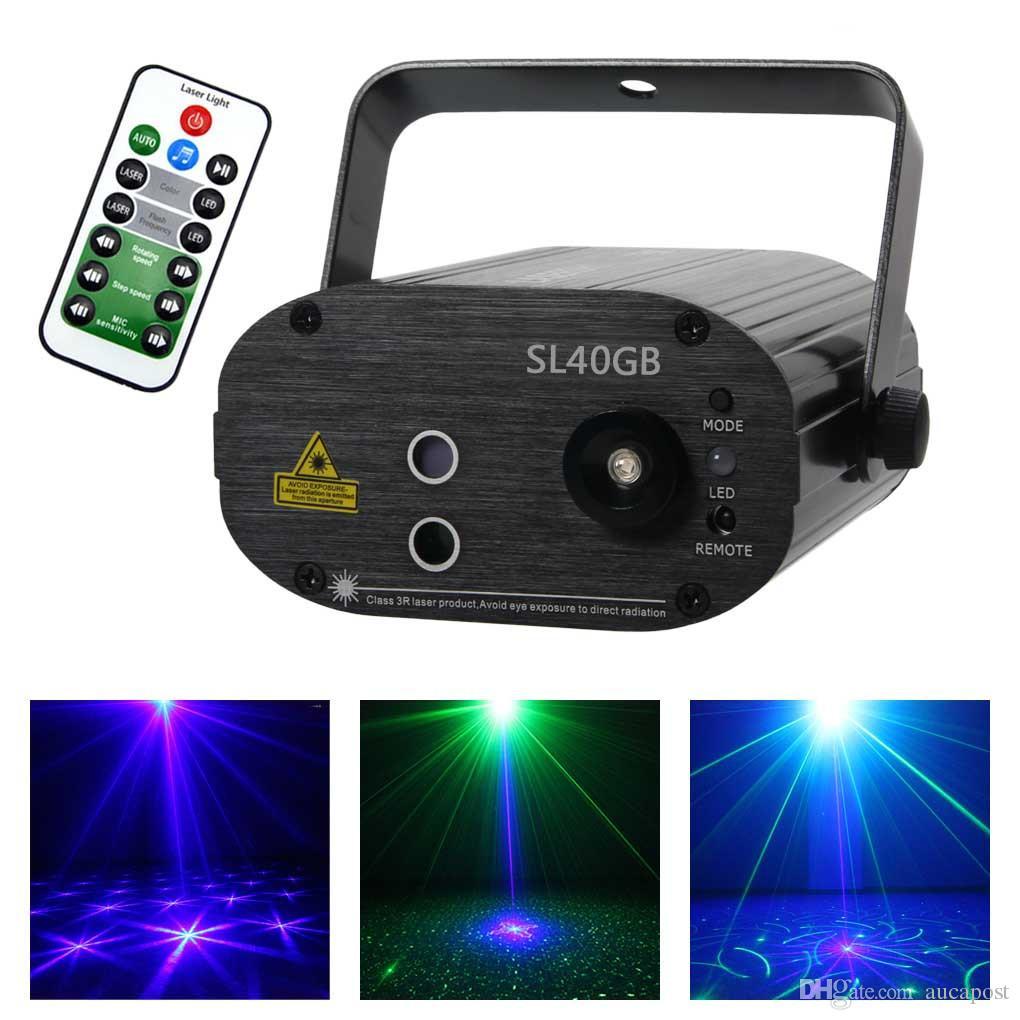 Mini Proiettore Laser Effetto Luci.Aucd Remote Mini 40gb Green Blue 3w Blu Led Effetto Luce Laser Proiettore Decorazione Festa Dj Party Stage Lighting Sl40gb