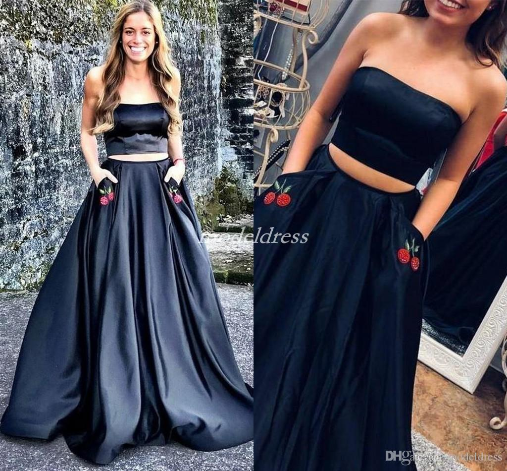 Two Pieces Black Prom Dresses Strapless Sweep Train Pockets Embroidery Long  Formal Evening Party Gowns Homecoming Graduation Dress 2019 Petite Prom  Dresses ... 4202d900b