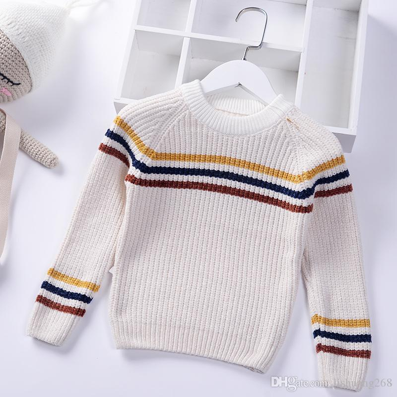 1b9e5b664 2018 Autumn Winter Boys Sweaters Jumper Striped Chenille Baby ...