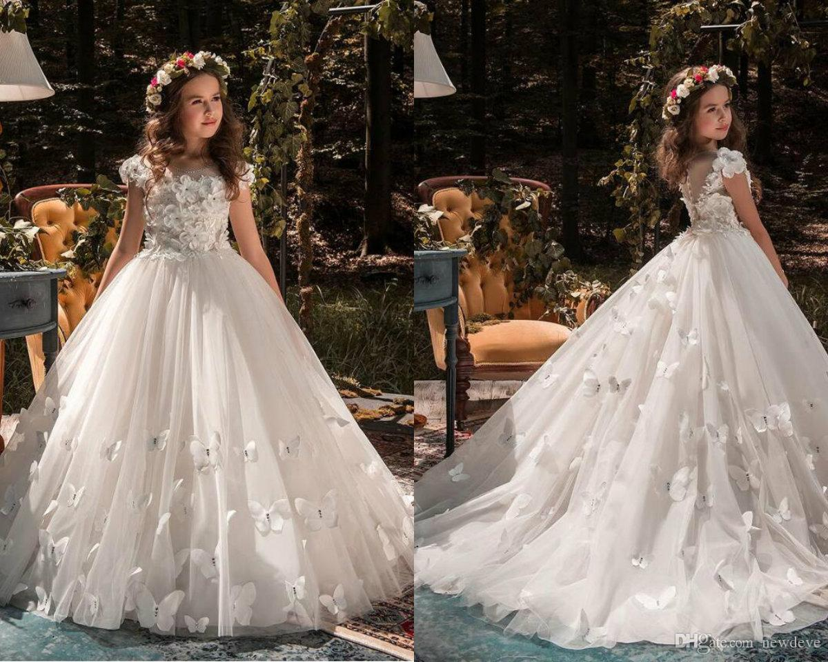 b4aa84cc1 New Kids Pageant Evening Gowns 2019 Lace Ball Gown Flower Girls Dresses For  Weddings First Communion Dresses For Girls Big Girls Dresses Cheap Little  Girl ...