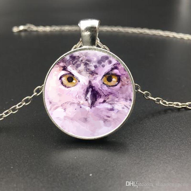 2019 new cute owl pattern time gemstone glass pendant necklace silver alloy long sweater chain wholesale