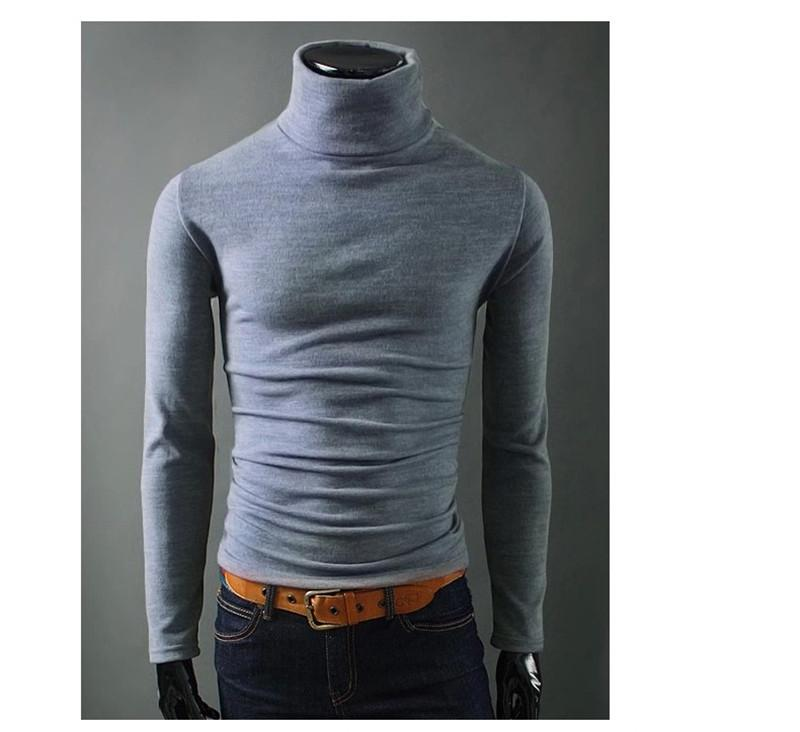 Fashion Solid Man Bottoming Shirt Designer Thick High Collar Winter Warm Tops Homme Casual Slim Cloth