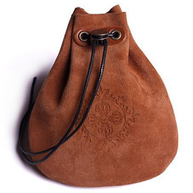 ABDB-Outdoor Leather Cheap Coin Purse Coin Bag Drawstring Pouch Calabash Jewelry Packing Bags