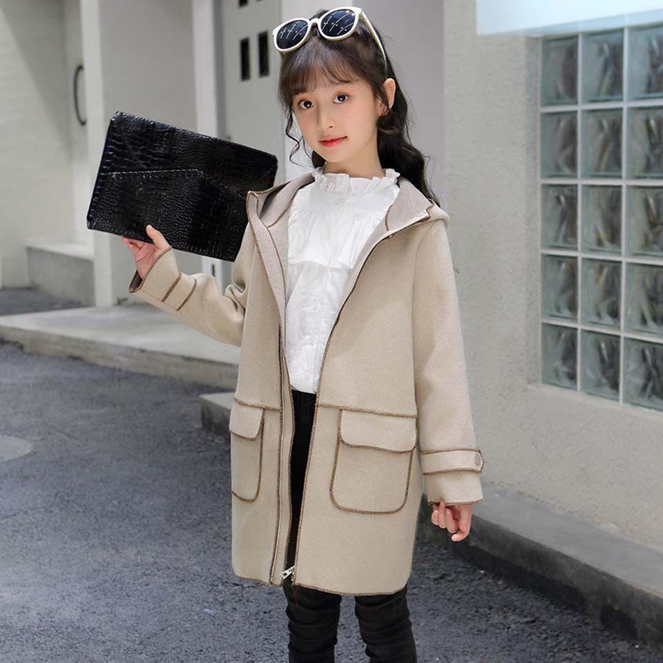 35c18138f562 2019 Girls Jackets   Coats Children Winter Outwear Solid Long Sleeve ...