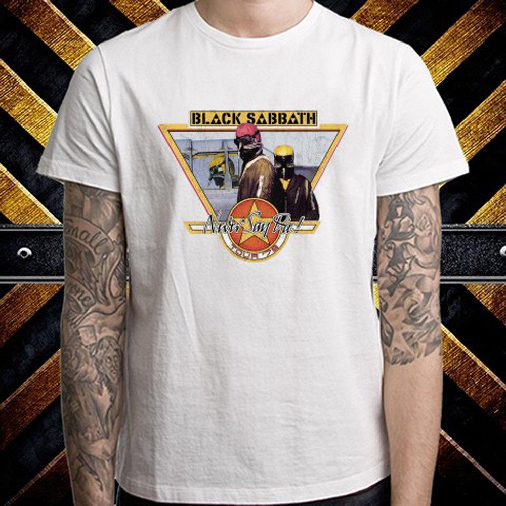 0506c143bb042 Black Sabbath Never Say Die Tour 78 Men S White T Shirt Size S M L XL 2XL  3XL Coolest T Shirt Shirts With Designs From Integritybusiness59