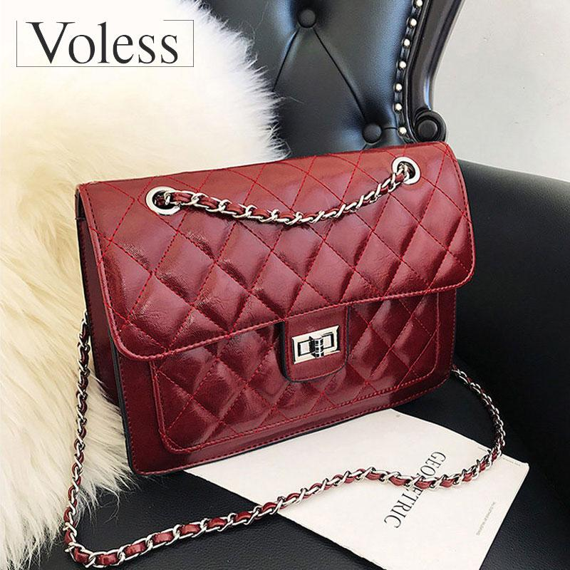 90a9390b4692 VOLESS Women PU Leather Shoulder Bags Luxury Handbags Women Bags Designer  Crossbody Bag Chain Patchwork Handbag Sac A Main Briefcase Leather Backpack  From ...