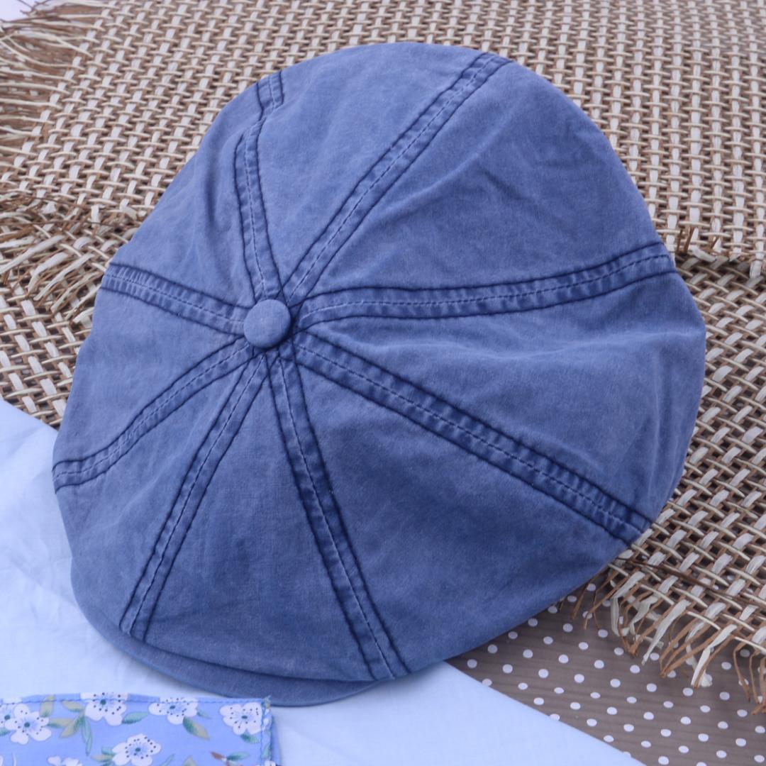 9d4f1ecd 2019 Unisex Blue Cotton Newsboy Cap Octagonal Vintage 8 Panel Hat ...