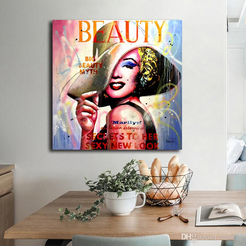 Marilyn Monroe Anime Portrait HD Canvas Famous Figure Painting Print Bedroom Home Decor Modern Wall Art Oil Painting Poster Framework