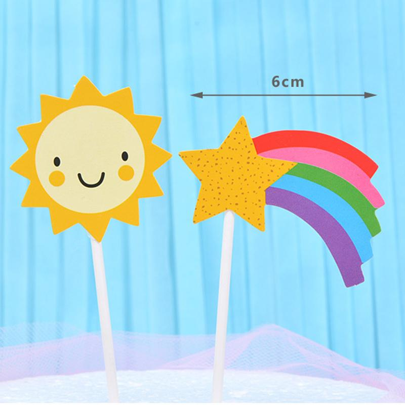 Fashion 4PCS/Pack Birthday Cake Decoration Baking Insert Card Wedding Festival Supplies Party Moon Sunflower For Kids Girls