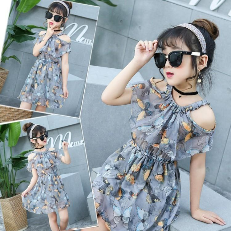 20a6ad4ffa 2019 Girls Butterfly Chiffon Fresh Small Fragrance Dress 2019 Children'S Wear  Summer Girls Personality Bohemian Beach Dress 4 14 Year From Cynthia03, ...