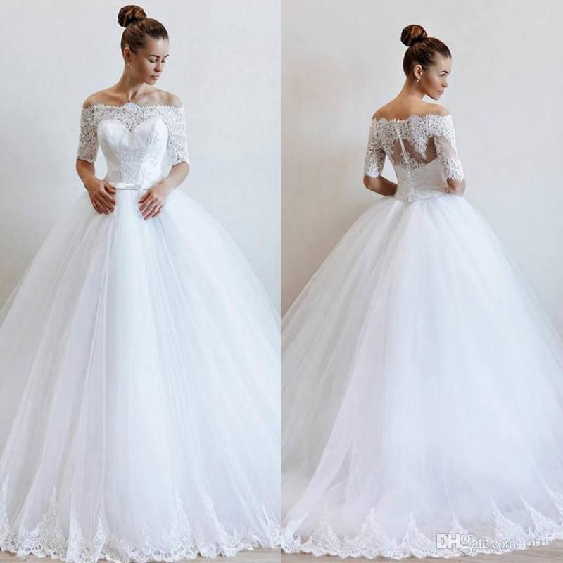 Modest Half Sleeve Off The Shoulder A Line Wedding Dress Plus Size Tulle  Lace Long Bridal Gown Vestidos De Novia
