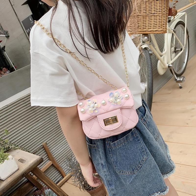 Kids Diamond Pattern Chain Bags PU Leather Pearl Flower Decor Messenger Shoulder Bags Small Daily Party Bag Girls Birthday Gift