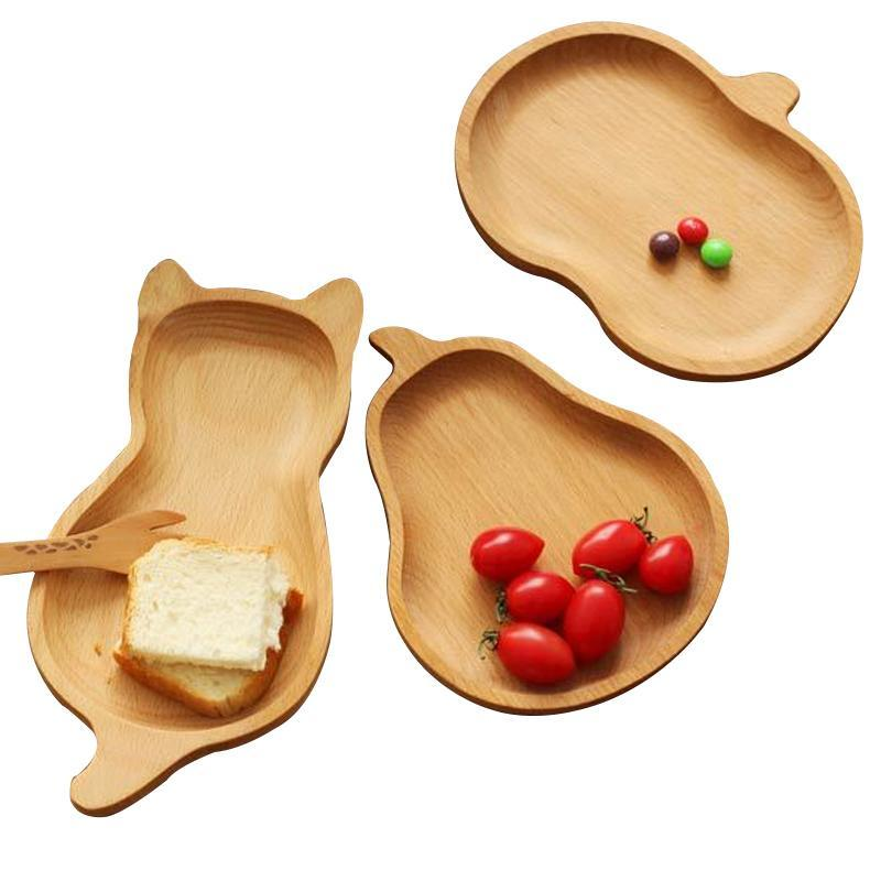 Desenhos animados de madeira bandejas de armazenamento Pratos Pratos crianças Placas Snacks doces da fruta de sobremesa Cat Pear da Apple Kitchen Organizador Louça decorativas