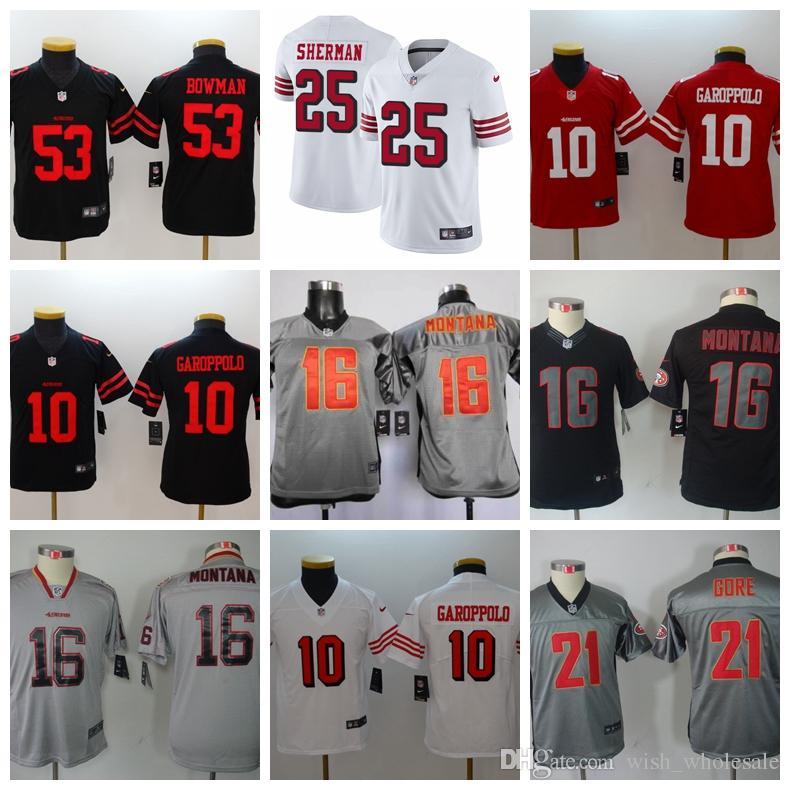 huge discount 71c33 39cf1 San Francisco Women 49ers 10 Jimmy Garoppolo Jersey Football 25 Jimmie Ward  56 Reuben Foster 80 Jerry Rice 16 Joe Montana Lady youth jersey