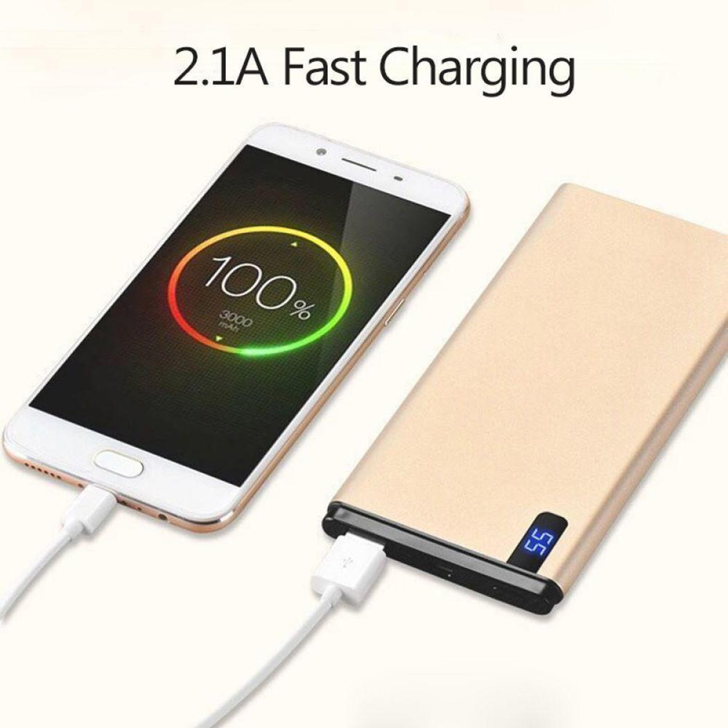 Display Ultra-thin 186g Digital 5V Battery USB Portable Square polymer Power Charging 2 Li Bank Fast 8000mAh LED 1A