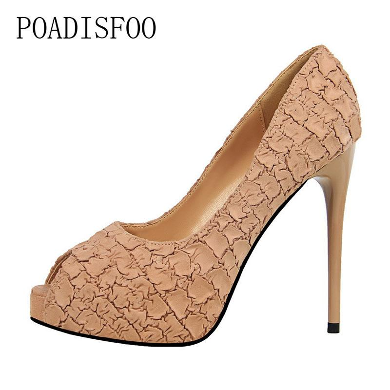 Dress Poadisfoo Sexy Nightclubs High Heels With High-heeled Waterproof Platform Shallow Stone Pattern Fish Mouth Shoes .ds-1675-3