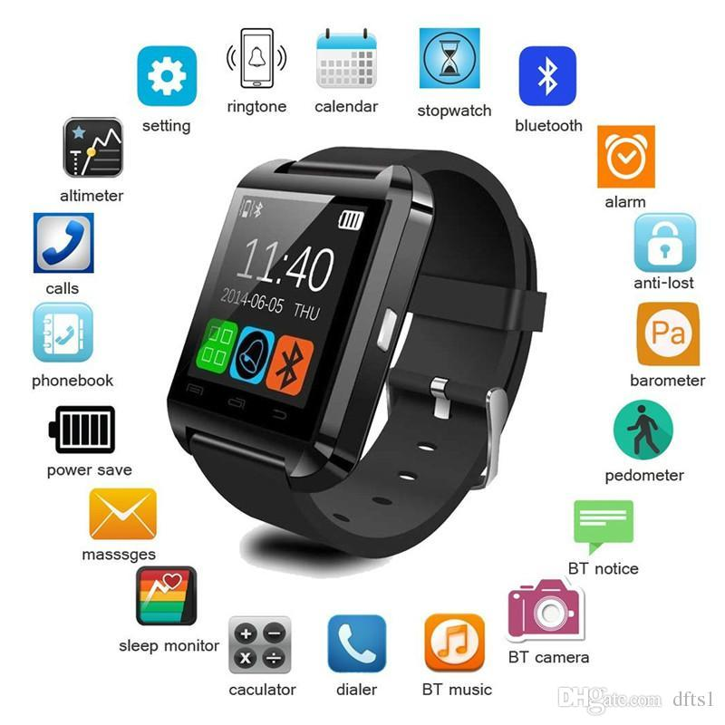 best sneakers bdea6 c7e18 U8 Bluetooth Smart Watch Touch Screen Wrist Watches For iPhone 7 IOS  Samsung S8 Android Phone Sleeping Monitor Smartwatch With Retail Packag