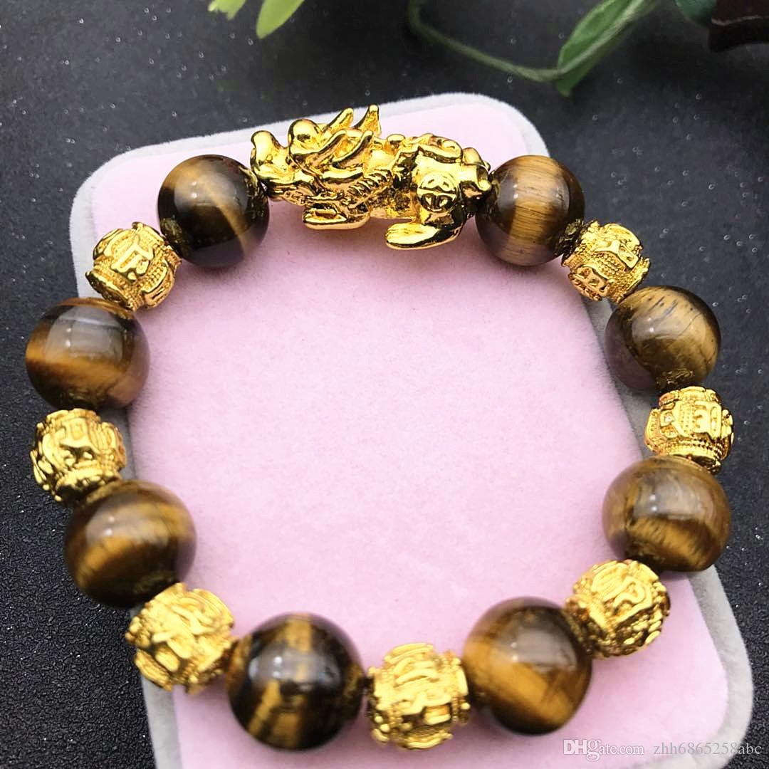 PX007 New men's beaded six word bracelet natural stone crystal bead natural style tiger eye stone pixiu bracelet pixiu tiger eye bracelet