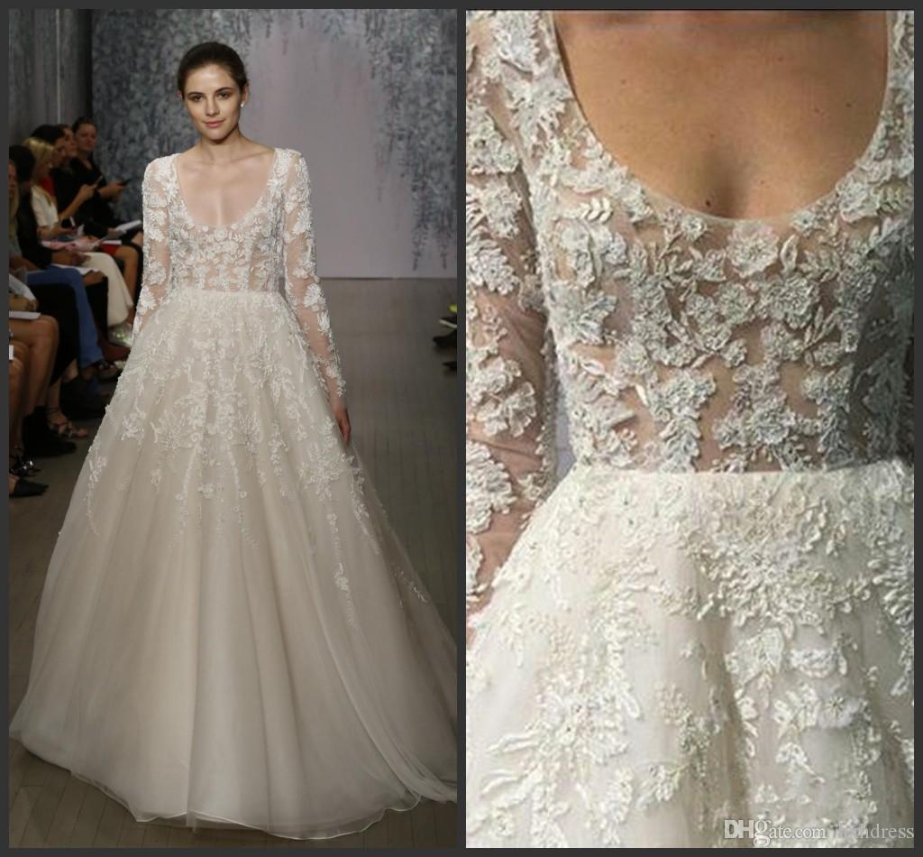 fa91a7db13 Discount 2019 New Sheer Lace Wedding Dresses With Long Sleeves Monique  Lhuillier Appliqued Scoop Neck Tulle Bridal Gowns A Line Long Dress For  Bride Weeding ...