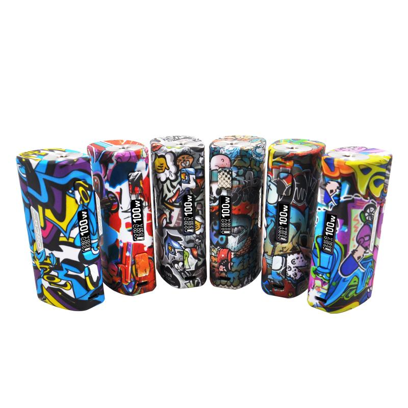 Authentic S-BODY ORCA Mini Box Mod Graffiti Pattern Vape Box 100w E Cig Fit  18650/26650 Battery RDA RTA Tank Hot Sale Vaporizer Brand new