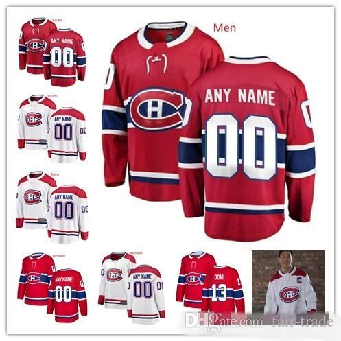 cheaper 206d5 2ee3e Custom Montreal Canadiens Red White100th Classic Jersey Any Number Name men  women youth kid Blue Domi Kotkaniemi Danault Petry Tatar Price