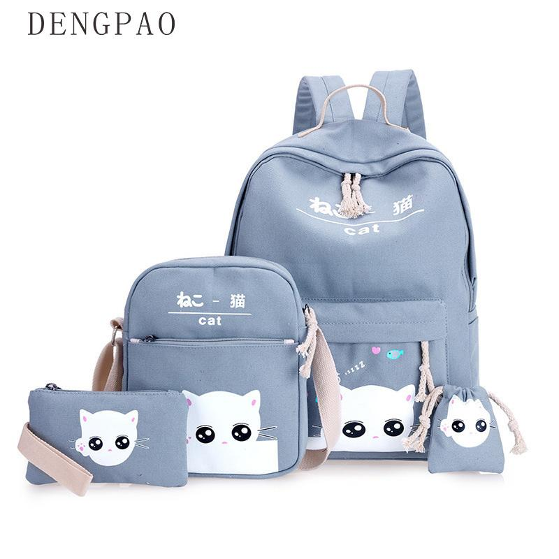 DENGPAO 4pcs/Set Laptop School Backpacks for Girls Boys Teenagers Female Bagpack Sac A Dos Femme Cute Cat Canvas Satchel child