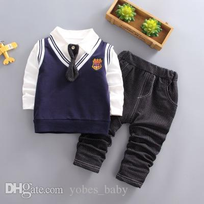 Kid cotton school uniform girls cloth causal todder boys clothes 2019 children clothing Korean kids long sleeve 3pcs bowtie shirt wholesale