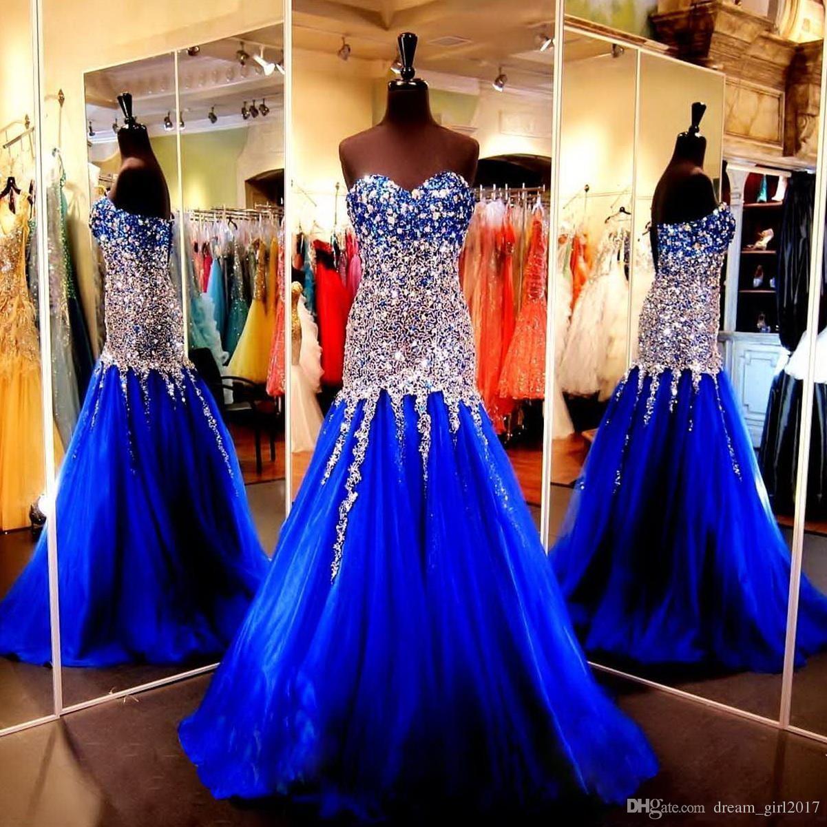 a7757de56 Vestido Formatura Azul Royal Vestidos De Festa De Baile Vestidos De Noite  2019 Sereia Querida Cristais Vestidos De Noite Formal Custom Made Longos  Vestidos ...