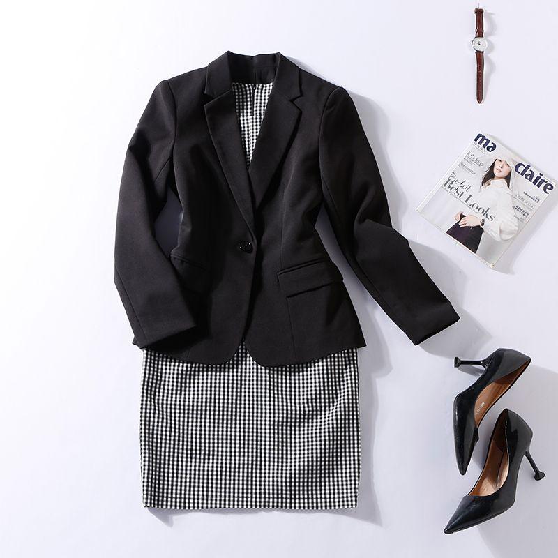 cf7291333db9 2019 Women Plaid Office Lady Dress Suits 2 Two Piece Sets Elegant Notched Jacket  Blazer + Fashion Sheath Dresses Femme Plus 4XL