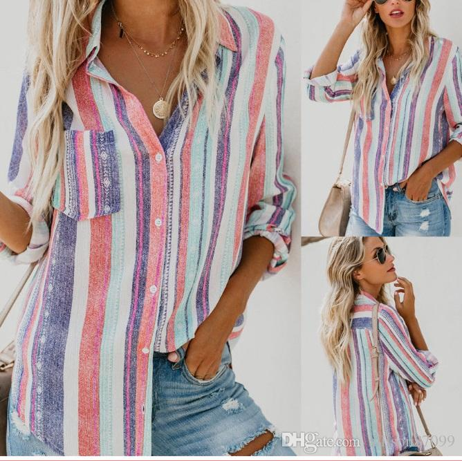 Fashion Women clothes Wholesale Ladies Casual Blouses Loose Shirts Striped Long sleeve Plus size Ladies Tops China Supplier 2019 Free DHL
