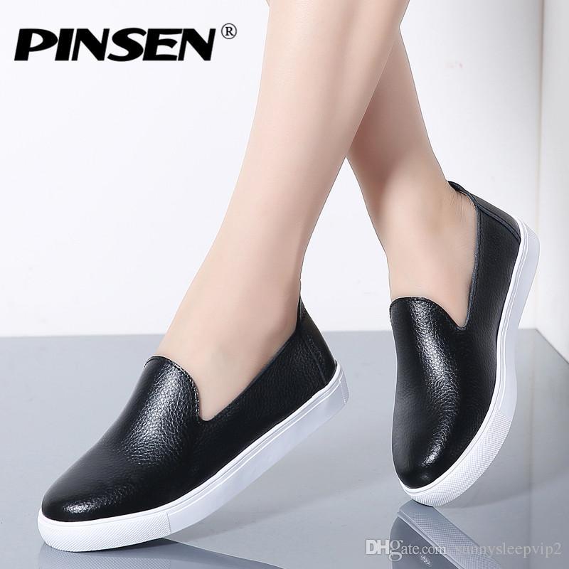 9d53a0b6a20e2 Compre PINSEN 2019 Zapatos De Mujer Planos De Otoño Bailarina Pisos Zapatos  Oxford De Cuero Para Mujer Zapatos De Tacón De Ballet Con Cordones Blancos  A ...