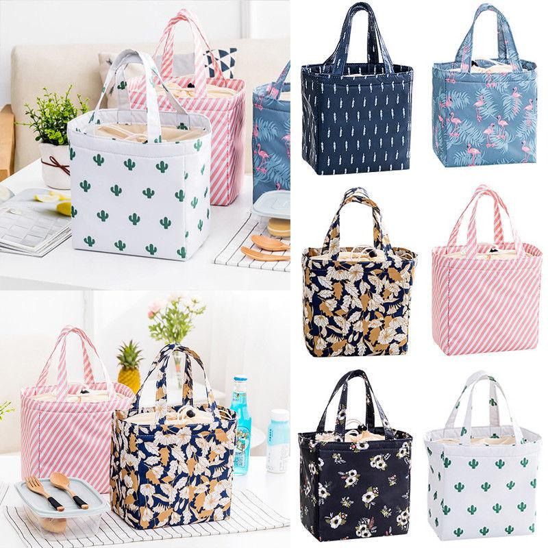 748d694ee96 New Fashion Print Insulated Lunch Bags Thermal Cooler Picnic Travel Box  Women Tote Carry Bags Waterproof Fabric