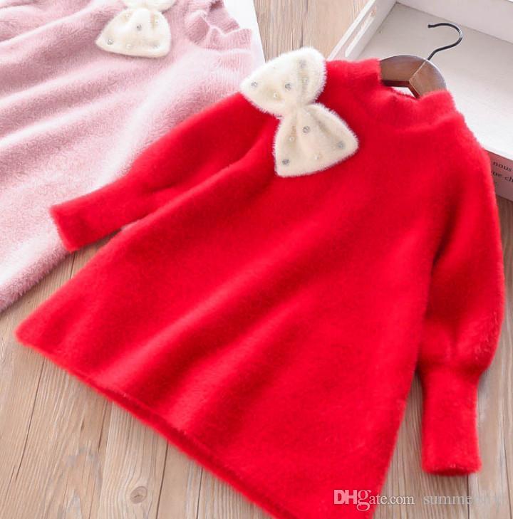 2ac87e13b Sweet Girls Fleece Sweater Dress Christmas Kids Rhinestones Beaded ...