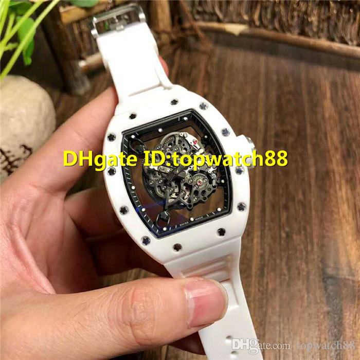 New 055 mens designer watches White Nano-ceramic Composites Case Swiss Automatic Skeleton 28800 Vph Sapphire Crystal Rubber Strap Mens Watch