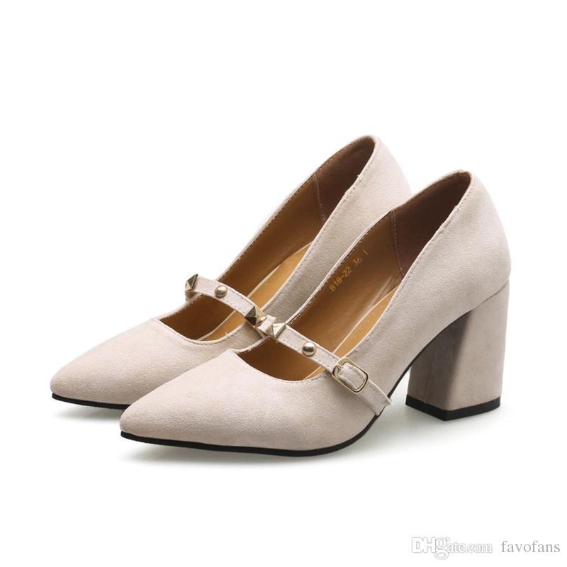 Favofans Hot Sale Damenschuhe Heels Ladies Court Schuhes Square High Heels Damenschuhe Pointy 01d5ca