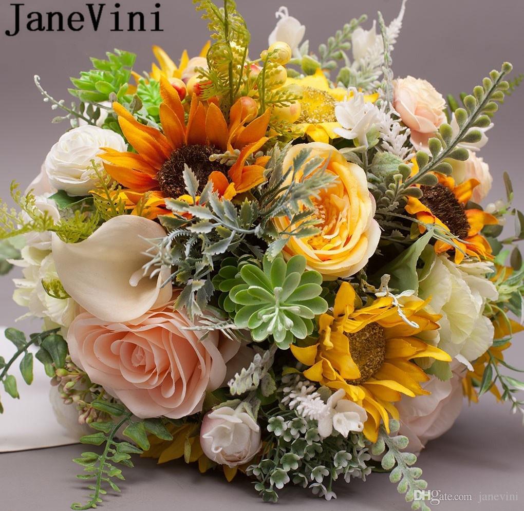 Janevini Yellow Bride Wedding Flowers Bridal Bouquets Artificial