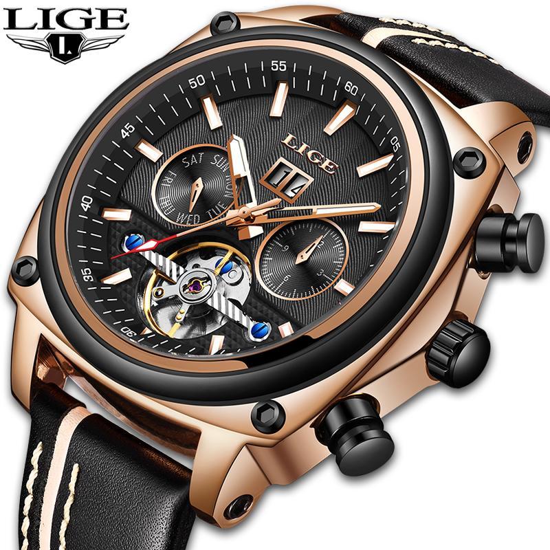 1ac34a222b5 Compre LIGE Top Marca De Luxo Relógio Mecânico Automático Dos Homens De  Couro À Prova D  Água Esporte Relógios Mens Relógios De Pulso De Negócios  Relogio ...